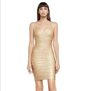 Herve Leger Iman gold dress